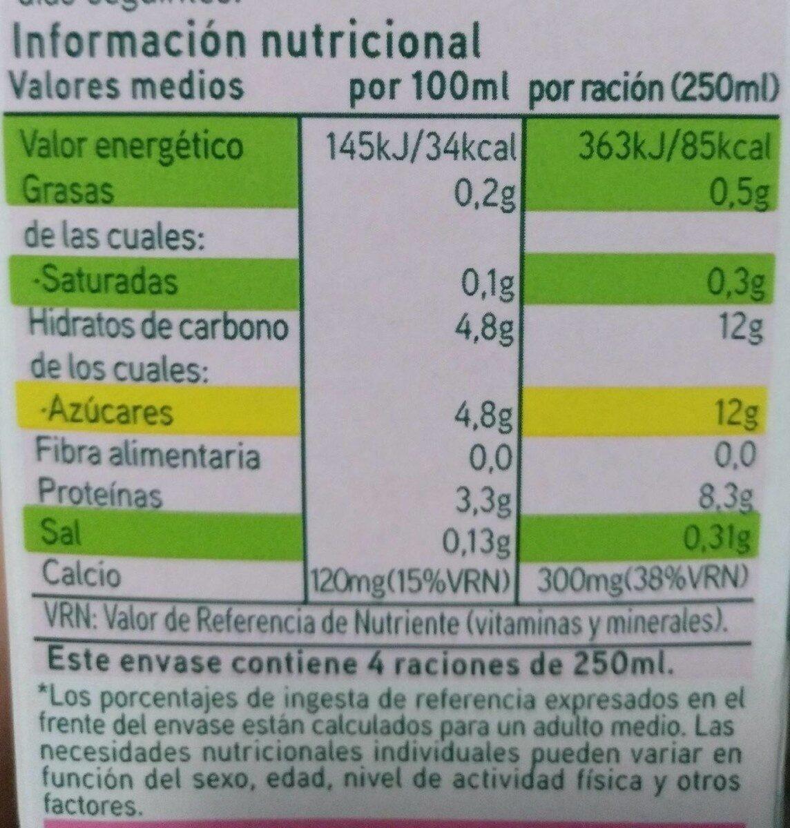 Leche desnatada - Informació nutricional