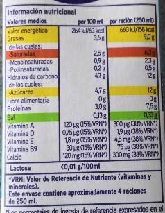 Leche entera sin lactosa - Información nutricional