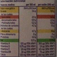 Leche entera sin lactosa - Información nutricional - es