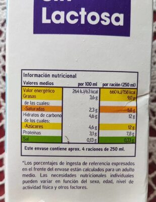 Leche entera sin lactosa eroski - Información nutricional - es