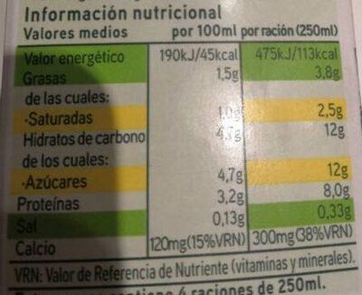 Leche semidesnatada - Información nutricional