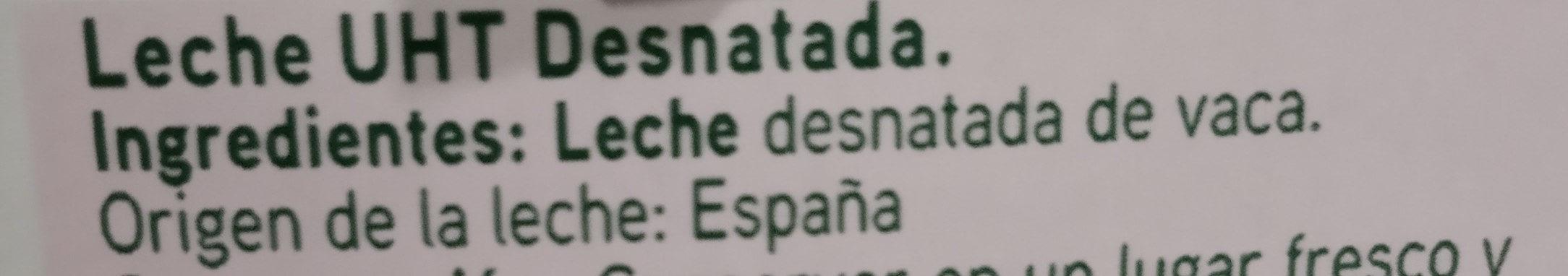 Leche UHT desnatada - Ingredientes - es