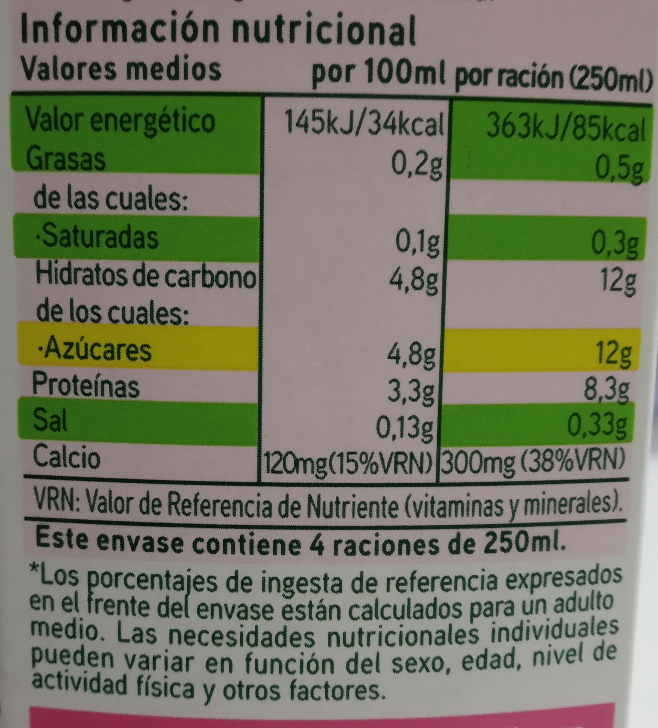 Leche UHT desnatada - Información nutricional - es