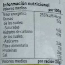 Almendra tostada salada - Informations nutritionnelles