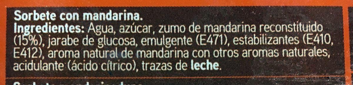 Sorbete de mandarina - Ingredients