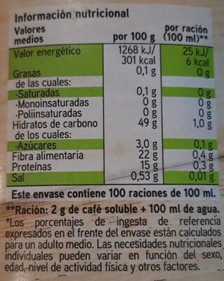Descafeinado - Nutrition facts - es