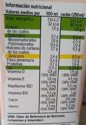 Bebida de almendra - Informations nutritionnelles - es