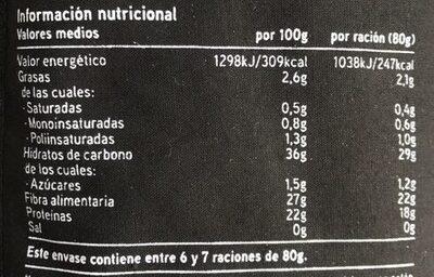 Seleqtia - Lenteja pardina - Informations nutritionnelles