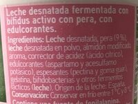 Yogur biactive desnatado con pera - Ingredients