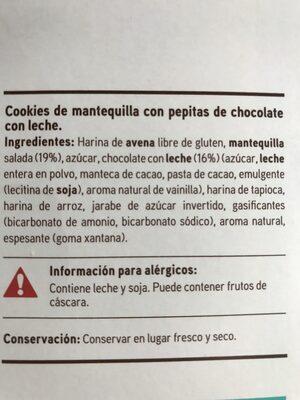 Sin gluten - Cookies de chocolate con leche - Ingredients - es