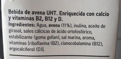 Leche Avena Eroski (nueva receta) - Ingredientes - es