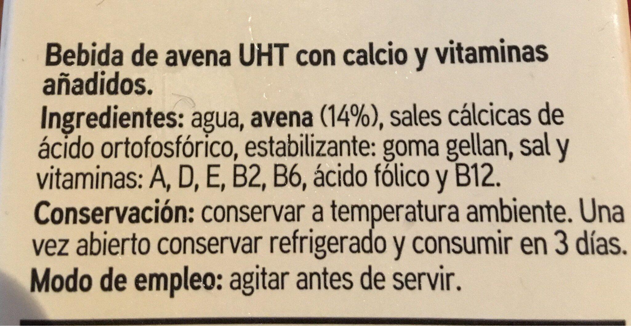 Bebida Avena Calcio - Ingrediënten