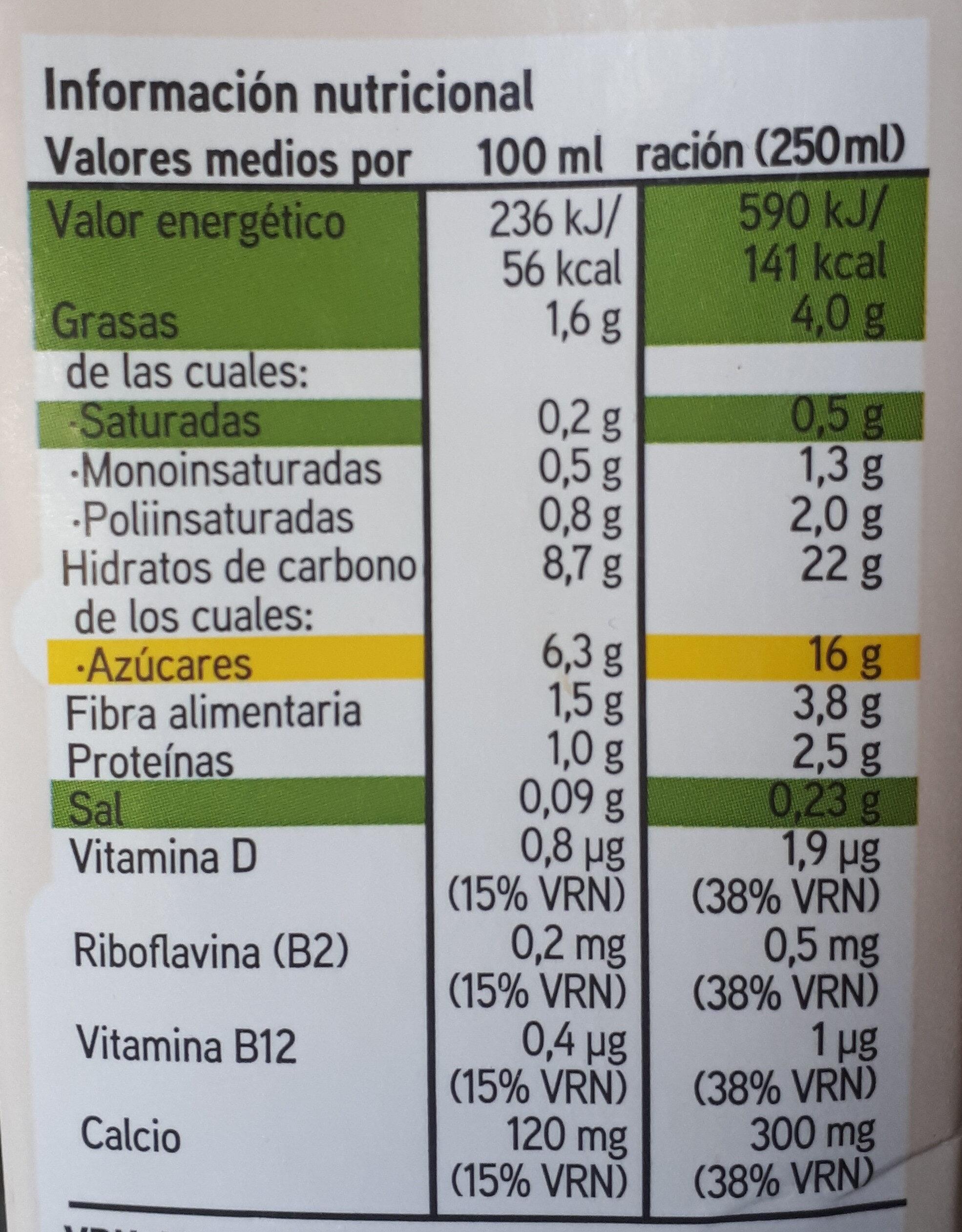 Leche Avena Eroski (nueva receta) - Información nutricional - es