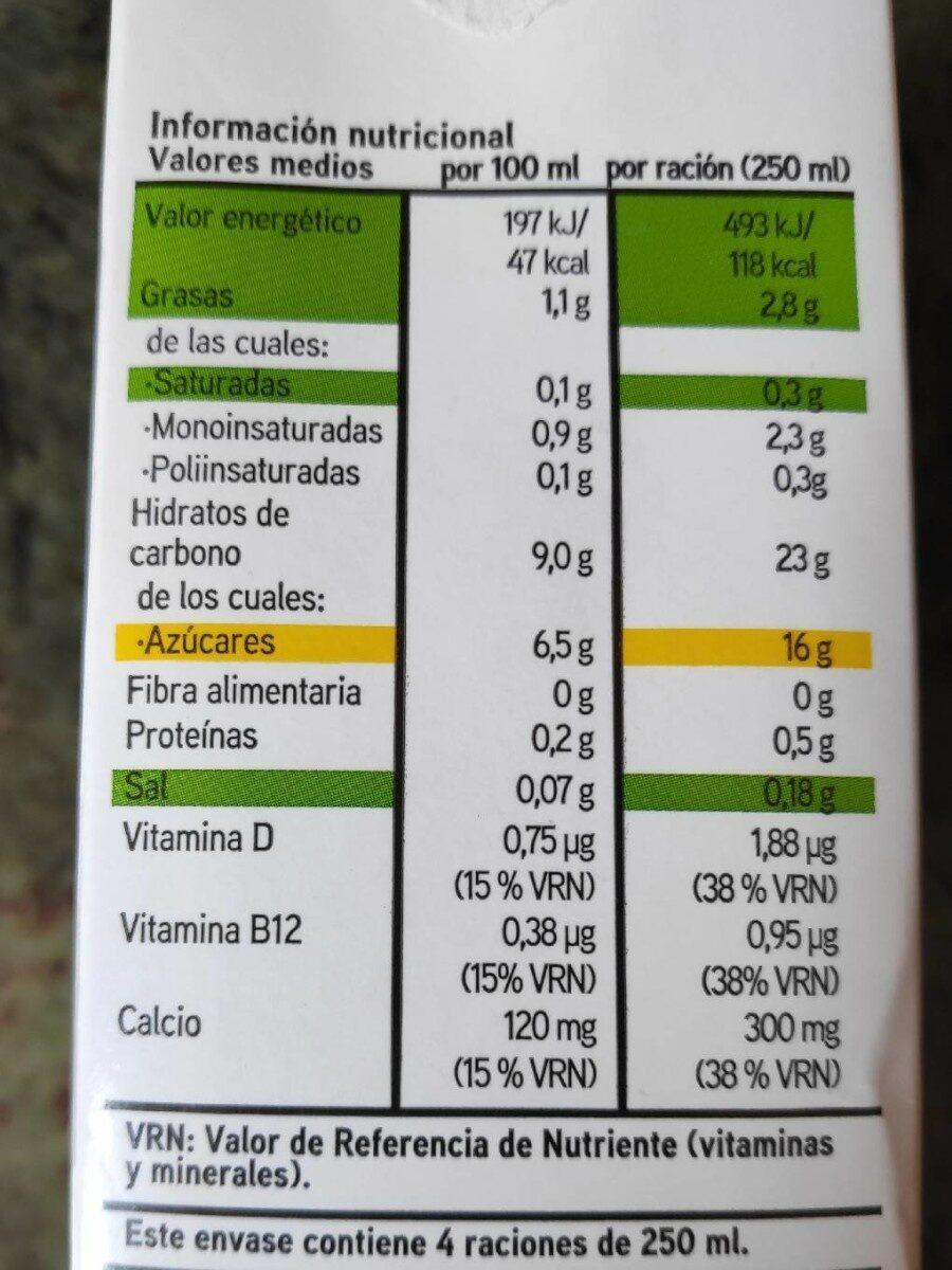 Bebida de arroz calcio - Voedingswaarden
