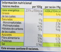 Chocolate con almendras - Voedingswaarden - es