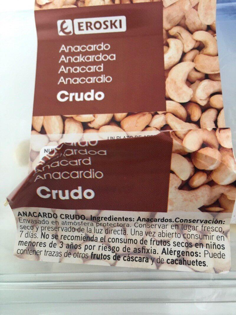 Anacardo crudo - Ingrédients - es