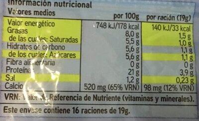 Lonchas de queso light - Informació nutricional - es