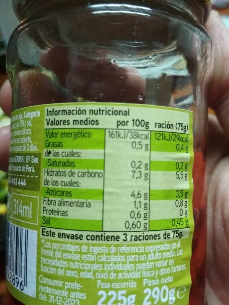 Pimientos del Piquillo tiras al ajillo - Informations nutritionnelles - es