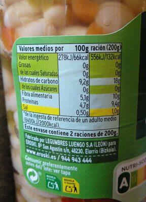 Alubias con verduras - Informations nutritionnelles - es