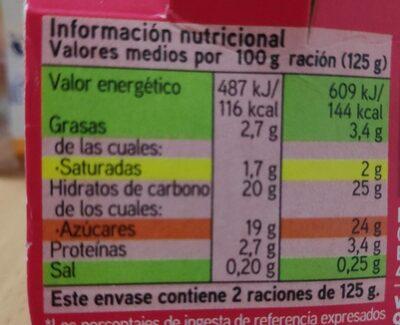 Yogur Fresa con Leche del Pirineo - Información nutricional