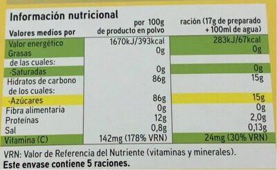Preparado para gelatina sabor limón - Informations nutritionnelles - es