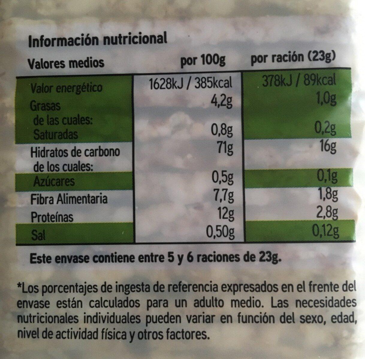 Tortitas de arroz - Informació nutricional - es