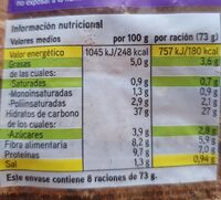 Pan de molde con cereales y semillas - Voedingswaarden - es