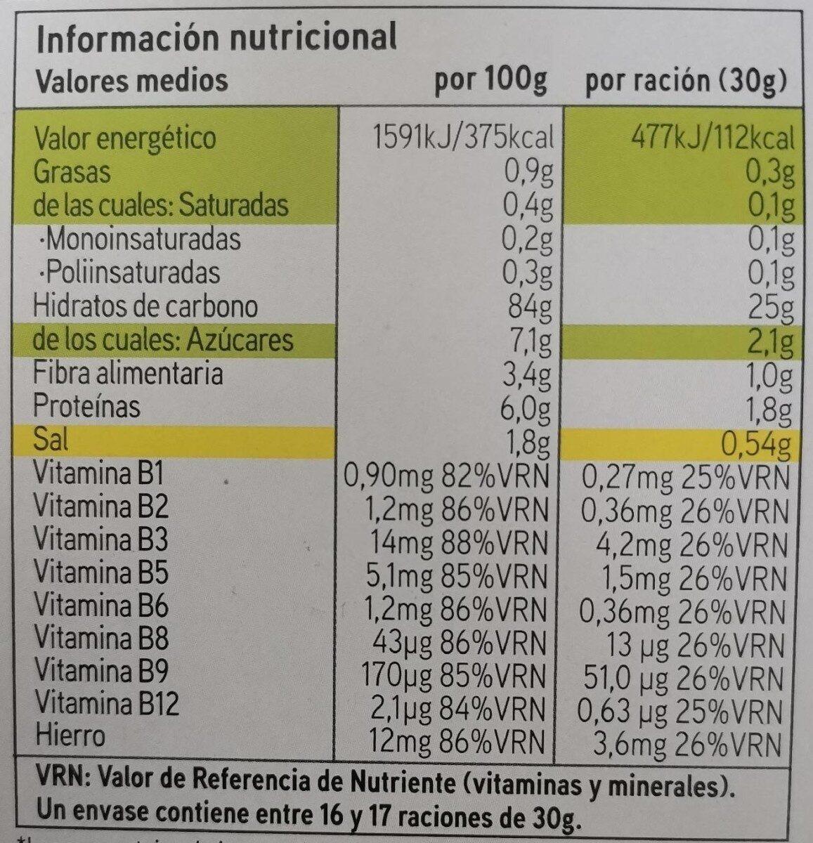 Corn flakes - Voedingswaarden - es