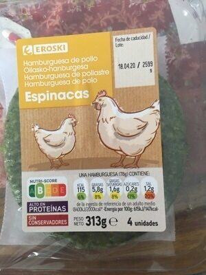 Burger Pollo & Pavo con Espinacas - Ingredientes - es