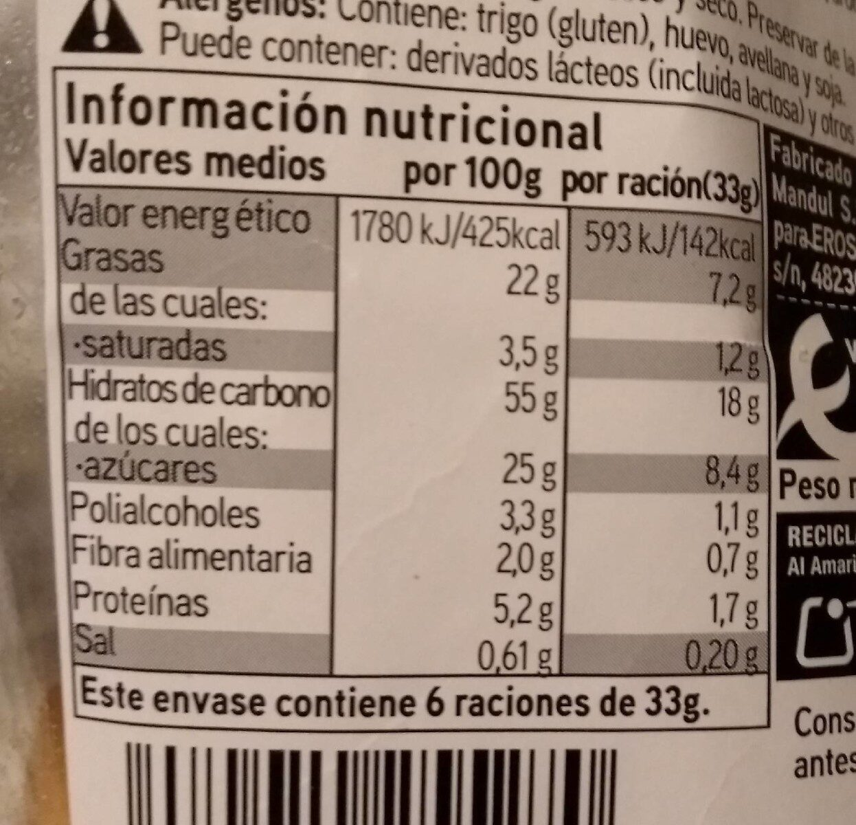 Mini Mojicón de Chocolate - Informations nutritionnelles