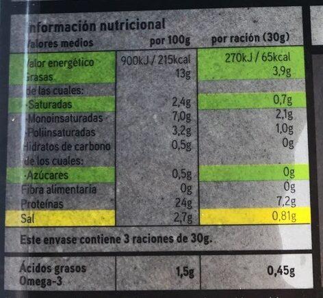Salmón noruego ahumado Seleqtia - Nutrition facts