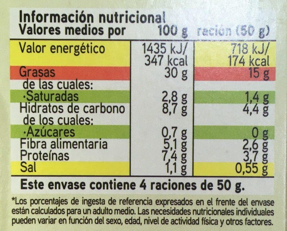 Hummus con aceite de oliva - Información nutricional
