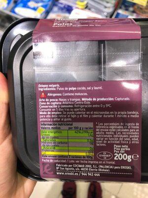 Pulpo cocido - Nutrition facts