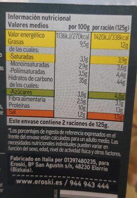 Tortelloni setas - Informations nutritionnelles - es
