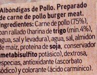 Albóndiga de pollo - Ingredients - es