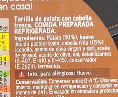 Tortilla de patata con cebolla - Ingrediënten - es