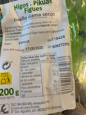 Higos cuello dama seco - Nutrition facts