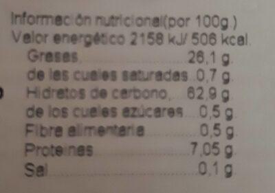 Rollo Naranja con edulcorante - Información nutricional