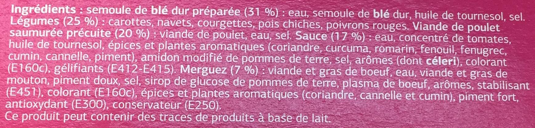 Couscous Volaille Merguez - Ingrédients