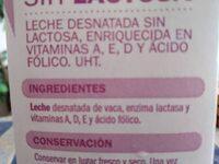 Leche Desnatada Sin Lactosa - Ingredients