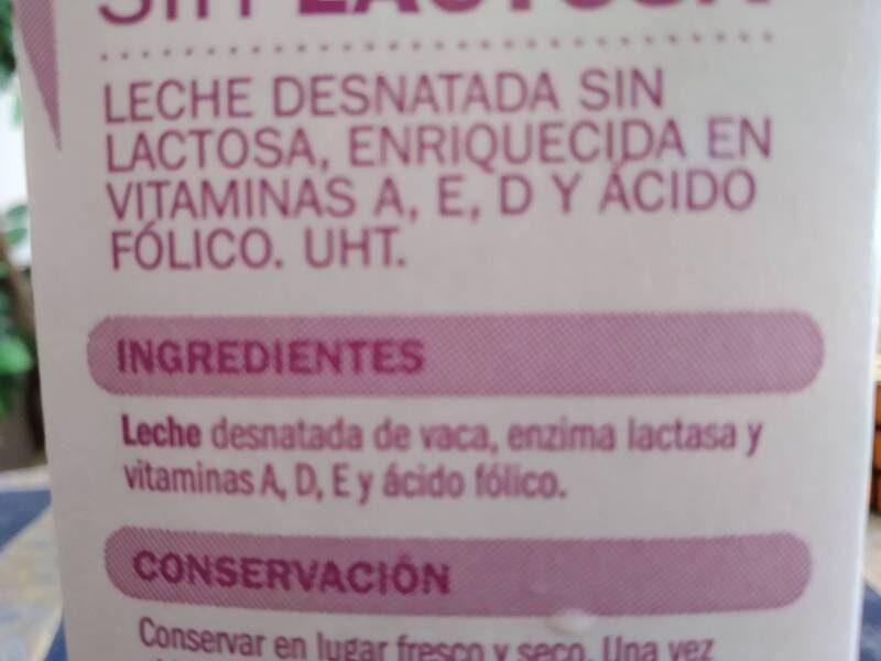 Leche Desnatada Sin Lactosa - Informació nutricional