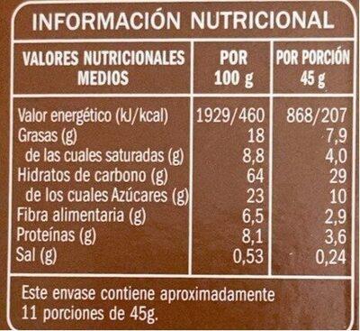 Céréales Muesli avec chocolat noir - Informació nutricional