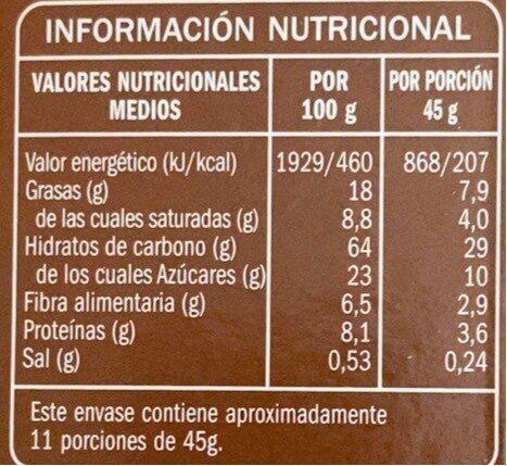 Céréales Muesli avec chocolat noir - Informació nutricional - es