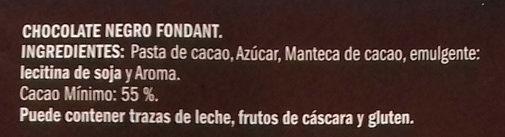 Chocolate negro - Ingredientes
