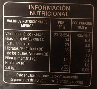 Chocolate relleno de naranja - Informació nutricional
