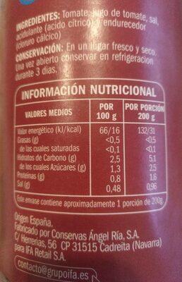Tomate natural entero - Voedigswaarden
