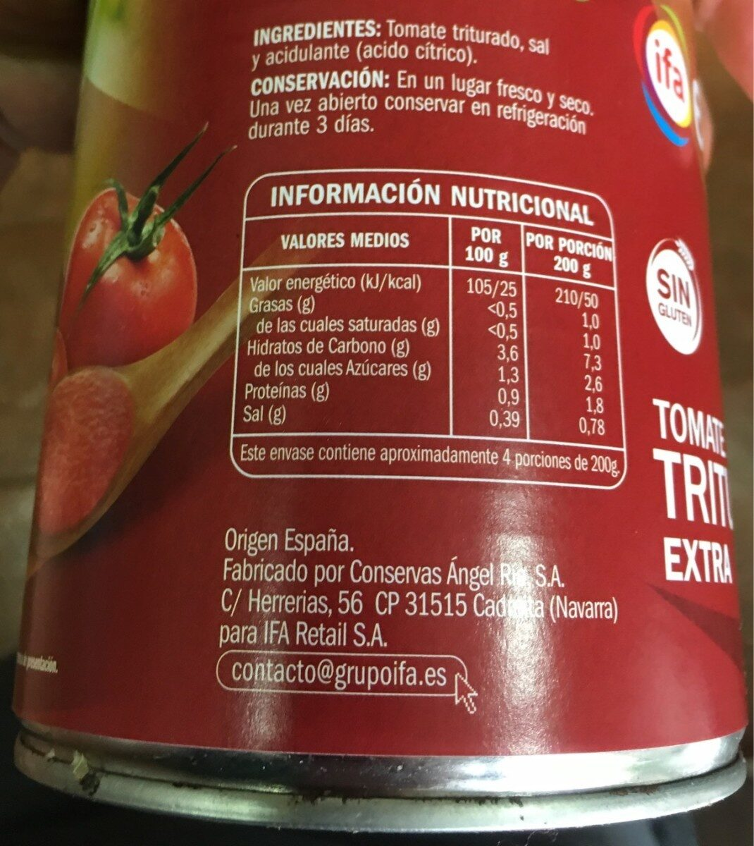 Tomate triturado extra - Nutrition facts