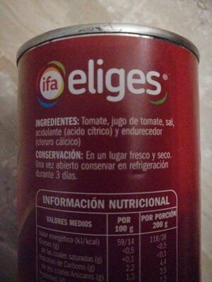 Tomate pelado triturado - Ingrediënten