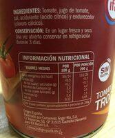 Tomate troceado - Información nutricional - es