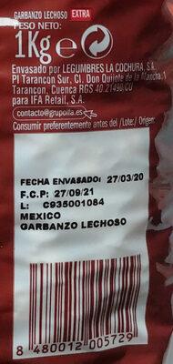 Garbanzo Lechoso EXTRA - Ingredients - es